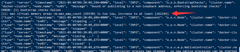 ERROR: [1] bootstrap checks failed<br>[1]: max virtual memory areas vm.max_map_count [65530] is too low, increase to at least [262144]